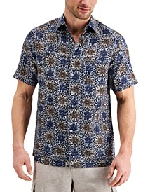 Men's Vine Print Linen Short Sleeve Shirt, Created for Macy's