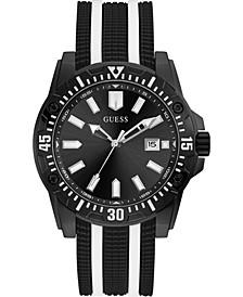 Men's Black & White Silicone Strap Watch 46mm