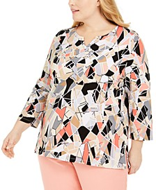 Plus Size Rhinestone-Embellished Geometric-Print Top