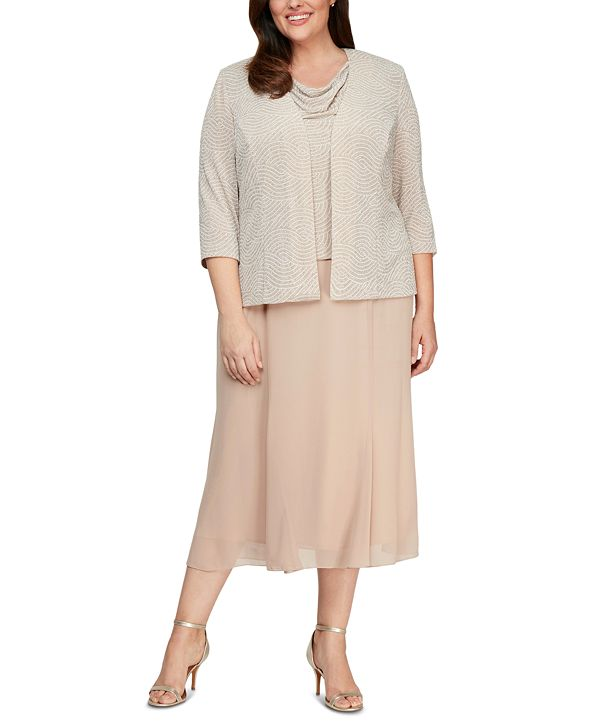 Alex Evenings Plus Size Cowlneck Dress and Jacket