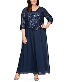 Plus Size Sequinned-Bodice Gown