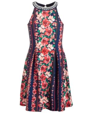 Monteau Big Girls Floral Stripe Dress
