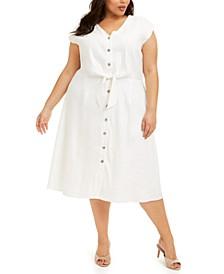 Plus Size Tie-Waist A-Line Linen Dress