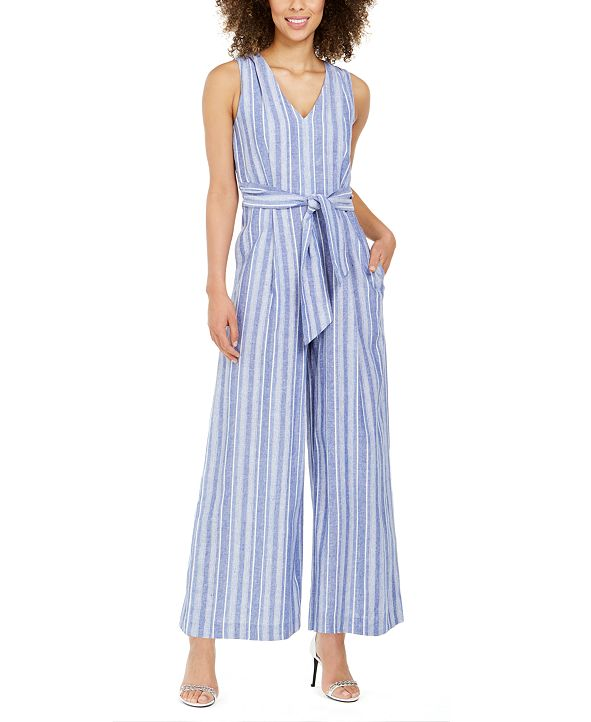 Calvin Klein Striped Belted Jumpsuit