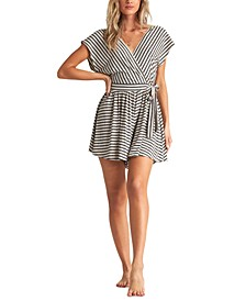 Juniors' Easy Day Striped Romper