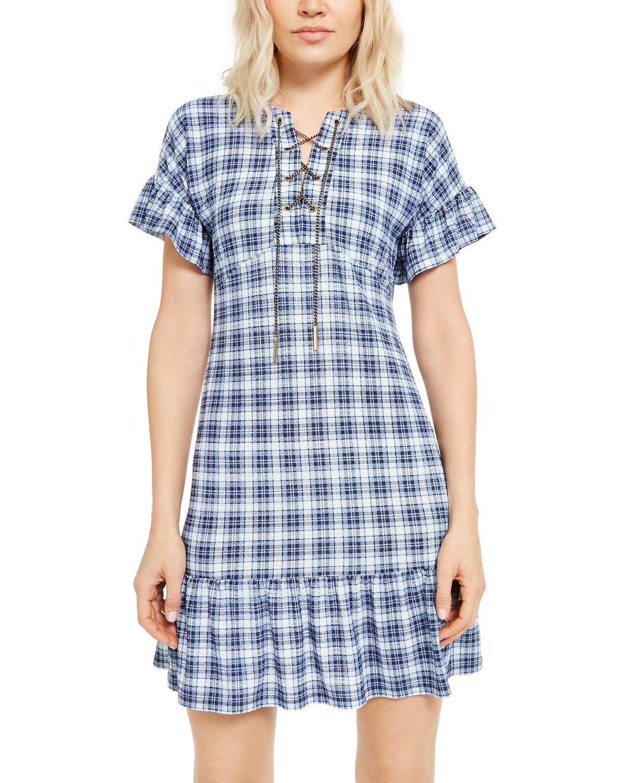 Chain Lace-Up Plaid Dress, Regular & Petite Sizes