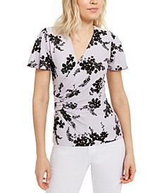 Floral-Print Side-Ruched Top, Regular & Petite Sizes