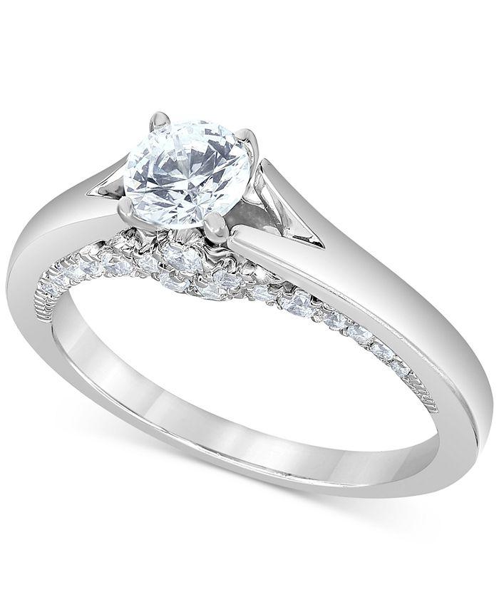 Macy's Star Signature Diamond - Certified Diamond Engagement Ring (1 ct. t.w.) in 14k White Gold