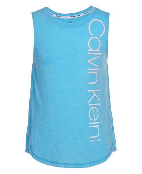 Calvin Klein Calvin Klein Big Girls Logo Graphic Performance Tank