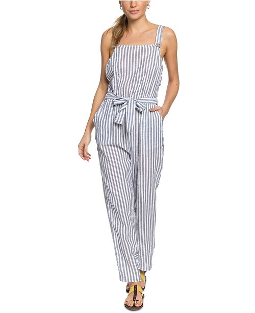 Roxy Juniors' Another You Cotton Striped Jumpsuit