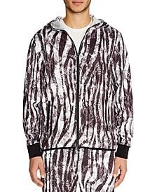 Men's Slim-Fit Stretch Zebra Print Zip-Up Hoodie Jacket
