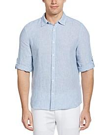 Men's Roll-Tab Stripe Linen Shirt