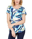 JM Collection Petite Printed Scoop-Neck Top Created for Macys