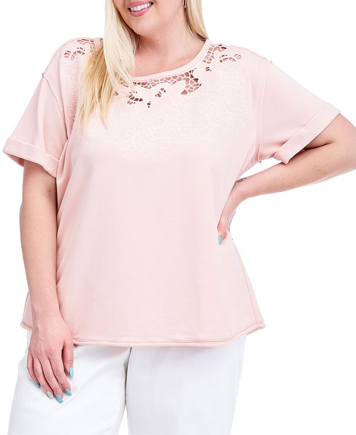 Fever - Plus Size Cutout Short-Sleeve Sweatshirt