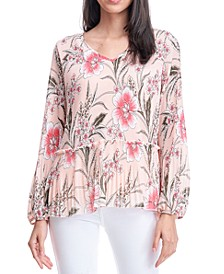 Floral-Print Pleated Peplum Blouse