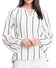 Striped Tie-Neck Top