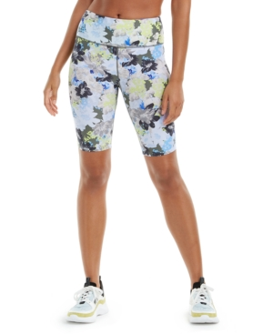 Calvin Klein Performance Printed High-waist Bike Shorts In Blue