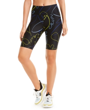 Calvin Klein Performance Printed High-waist Bike Shorts In Linework Bold Blue Combo