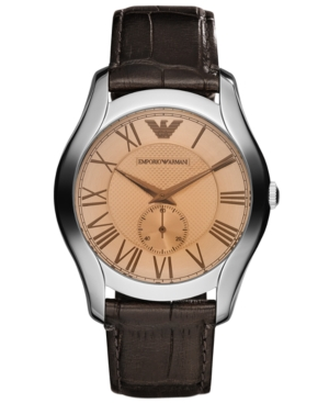 Emporio Armani Watch, Xx Dark Brown Croco Leather Strap 43mm AR1704