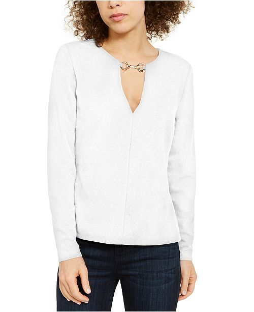 INC International Concepts INC V-Neck Hardware Top, Created for Macy's