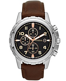 Men's Chronograph Dean Brown Leather Strap Watch 45mm