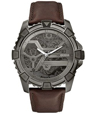 guess s brown leather 49mm u0274g1