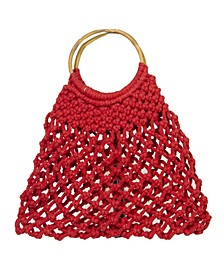 Macrame Medium Bag with Wood Handle