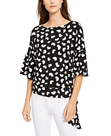 Petal-Print Flounce Top, Regular & Petite