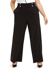 Plus Size Pearl-Button Wide-Leg Pants