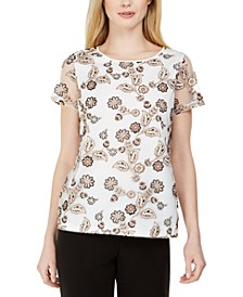 Embroidered Mesh-Sleeve Top