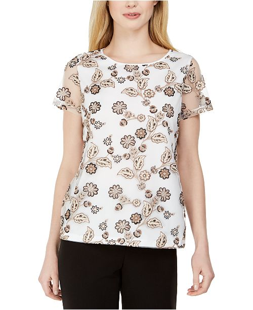 Calvin Klein Embroidered Mesh-Sleeve Top