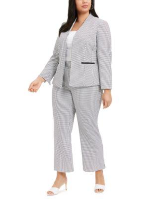 Plus Size Jacquard-Print Pull-On Modern Dress Pants