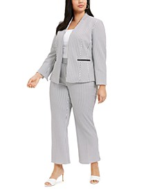 Plus Size Gingham Jacket & Modern Dress Pants