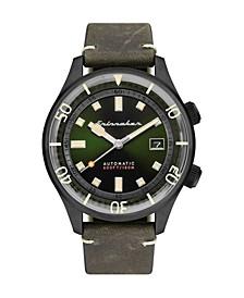 Men's Bradner Automatic Green Genuine Leather Strap Watch 42mm