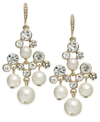 Charter Club Gold-Tone Glass Pearl and Pave Crystal Chandelier Earrings