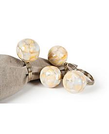 Mother of Pearl Elegant Ball Metal Napkin Rings, Set of 4