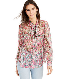 INC Sheer Bow-Tie Blouse, Created for Macy's