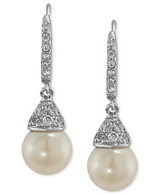 Carolee Earrings Silver Tone Cubic Zirconia And Gl Pearl Drop 6
