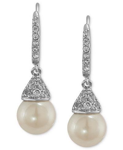 Carolee Earrings, Silver-Tone Cubic Zirconia and Glass Pearl Drop Earrings (6-9/10 ct. t.w.)