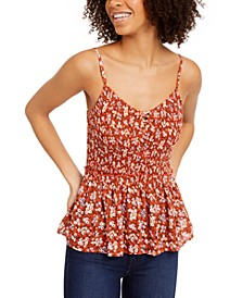 Juniors' Floral-Print Smocked-Waist Babydoll Tank Top