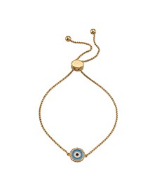 Fine Silver Plated Turquoise and White Enamel Evil Eye Adjustable Bolo Bracelet