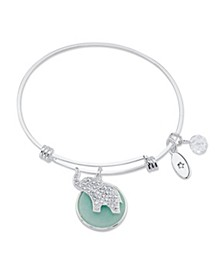"""Luck"" Crystal Elephant and Genuine Amazonite Adjustable Bangle Bracelet in Stainless Steel with Silver Plated Charms"