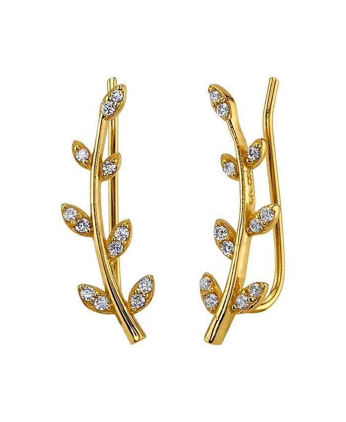 Unwritten - Silver Plated Gold Curved Branch Drop Earring with CZ Leaves