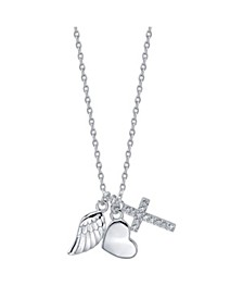Three Pendant Wing, Cubic Zirconia Cross, and Heart Necklace in Fine Silver Plate