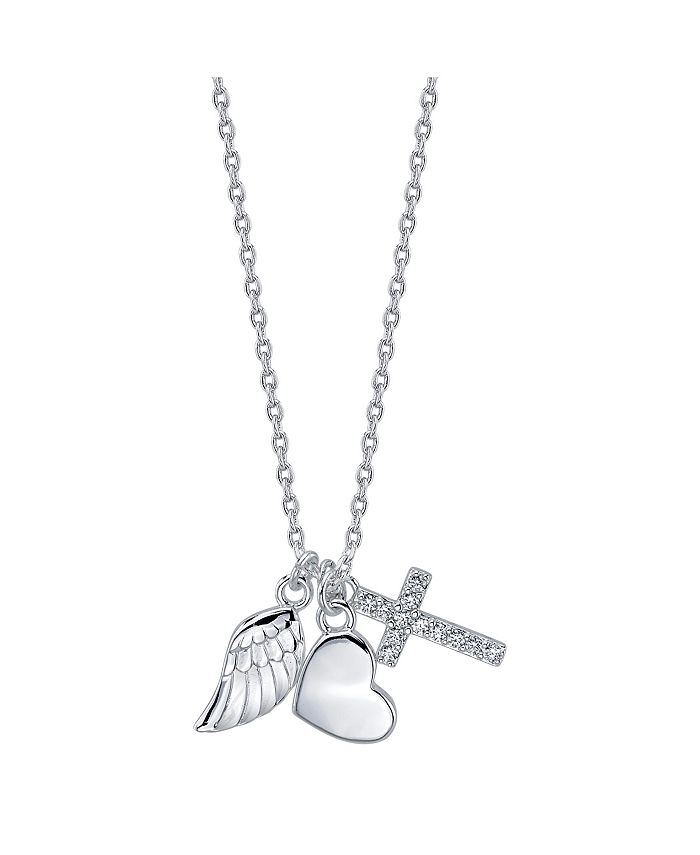 Unwritten - Three Pendant Wing, Cubic Zirconia Cross, and Heart Necklace in Fine Silver Plate