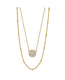 Gold Flash Plated Cubic Zirconia Disk Layered Pendant Necklace with Beaded Secondary Chain