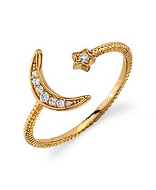 Silver Plated Gold Cubic Zirconia Star Moon Wrap Around Ring