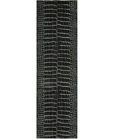 "Samuel SAM09 Charcoal 2'2"" x 7'6"" Runner Rug"