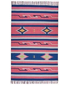 """Macah MAC01 Pink, Blue 3'6"""" x 5'6"""" Area Rug"""