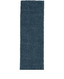 "Cali Shag CAL01 Blue 2'2"" x 7'6"" Runner Rug"